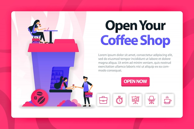 Flat illustration about opening coffee shop with one click.