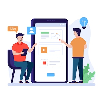 A flat illustration of app wireframe premium vector