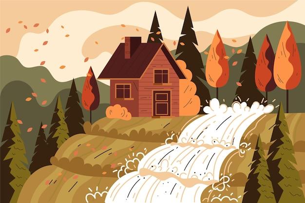 Illustrazione piatta delle case autunnali nella foresta