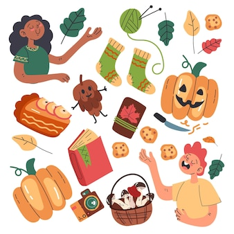 Flat illustration of autumn scenes and objects