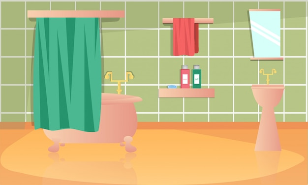 Flat illustration of bathroom interior design.