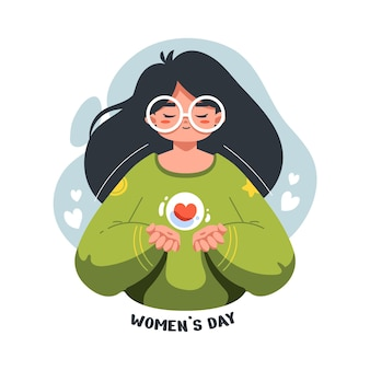 Flat illustration of beautiful and cute girl in the celebration for international women's day