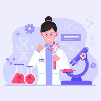 Flat illustration biotechnology concept