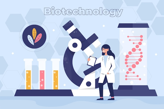 Concetto di biotecnologia illustrazione piatta