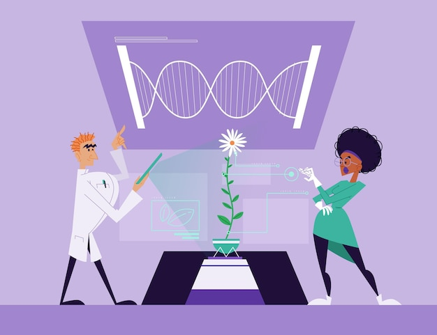 Flat illustration biotechnology with scientists