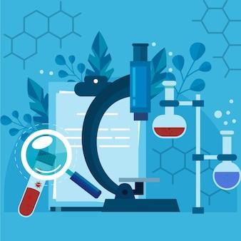 Biotecnologia illustrazione piatta