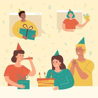 Flat illustration of birthday people