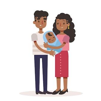 赤ちゃんとフラットイラスト黒家族