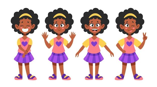 다른 포즈의 평면 그림 흑인 소녀