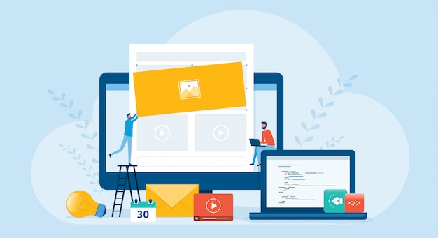 Flat illustration business team working and web develop and web design build website homepage concept