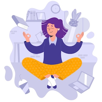 Flat illustration businesswoman meditating