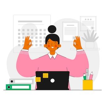 Плоская иллюстрация бизнесвумен медитирует