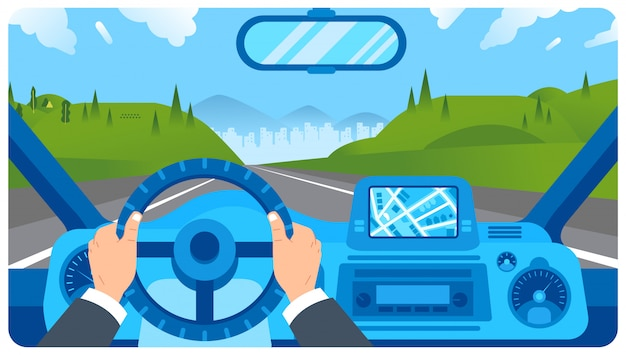 Flat illustration of car dashboard with driver hand on steering wheel