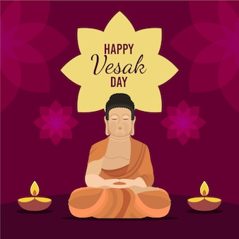 Flat illustration for celebrating vesak