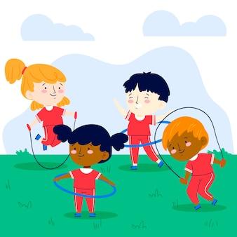 Illustrazione piatta dei bambini nella classe di educazione fisica