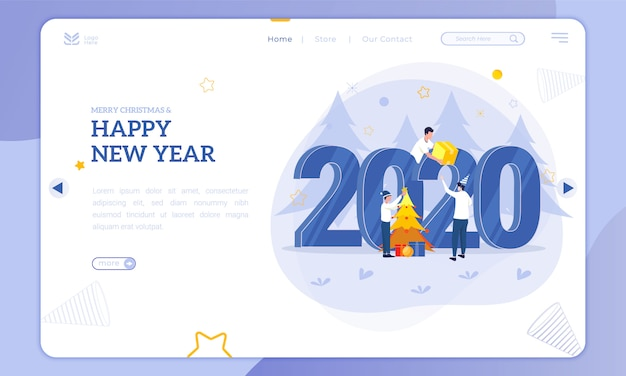 Flat illustration for christmas and new year 2020 on the landing page