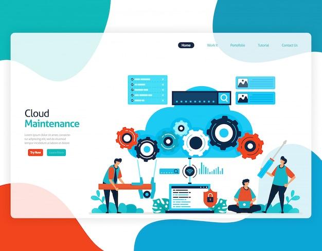 Flat illustration of cloud maintenance. repair and maintenance of cloud storage technology.