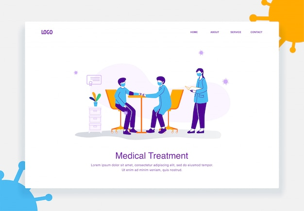 Flat illustration concept of doctors and nurses checking the blood pressure of patients exposed virus, covid 19 for landing page template