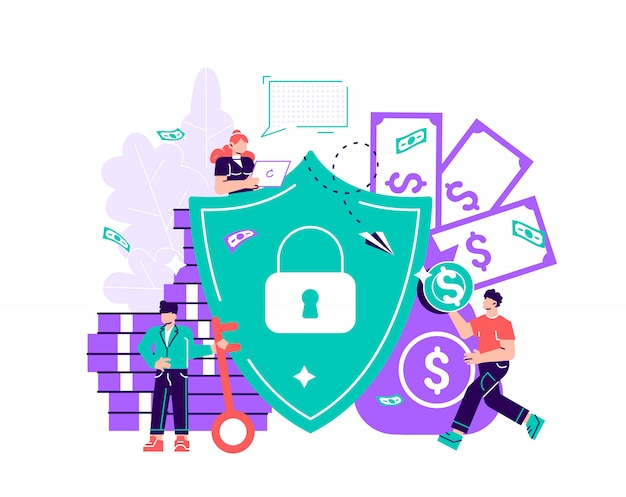 Flat illustration, concept of money protection, financial saving insurance, safe business economy. flat style modern design  illustration for web page, cards, poster, social media.