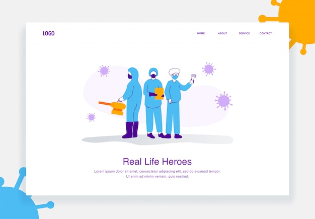 Flat illustration concept of professional doctors and nurses posing together wearing protective suits, covid 19 for landing page template