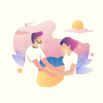 Flat illustration of the couples meet and falling in love