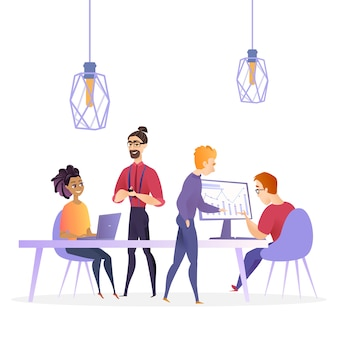 Flat illustration creative office business company