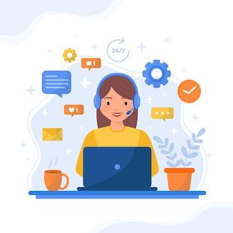 Assistenza clienti illustrazione piatta