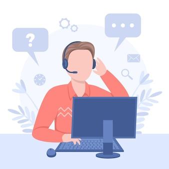 Flat illustration customer support