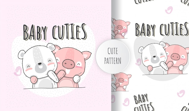 Flat illustration cute animals baby bear with pig