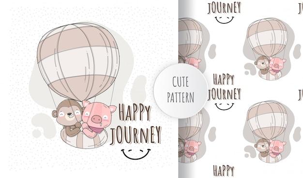 Flat illustration cute animals happy flying