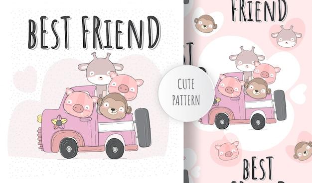 Плоские иллюстрации милые животные на автомобиле