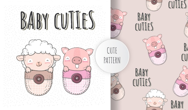 Flat illustration cute baby sheep with pig