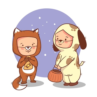 Flat illustration of cute children in halloween costumes