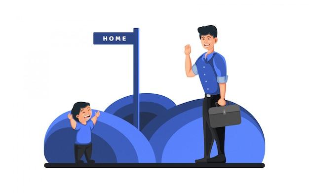 Плоская иллюстрация папа приходит домой - работа из дома