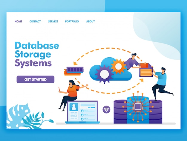 Flat illustration  design of database storage system.
