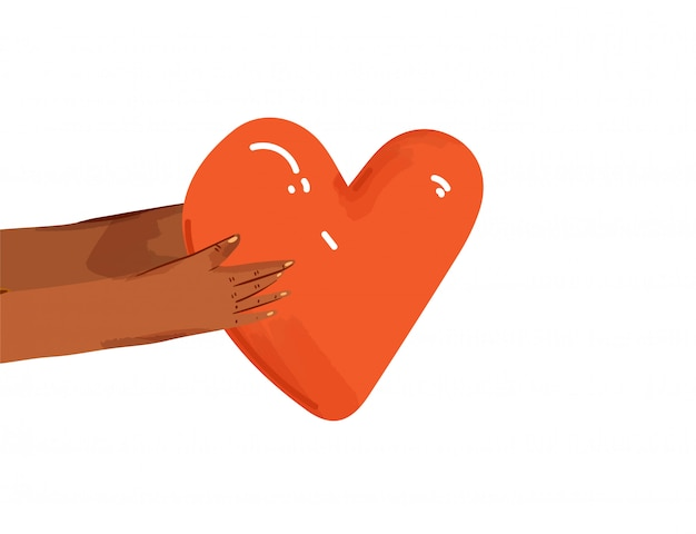 Flat illustration of diverse people sharing love, support, appreciation to each other. hands giving heart as a sign of connection and unity. love concept isolated
