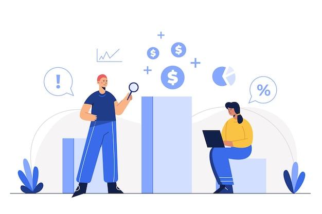 フラットイラストの従業員がオフィスの職場で働いて、データの成功を検索し、新しい考え、問題解決、ビジネステーマ