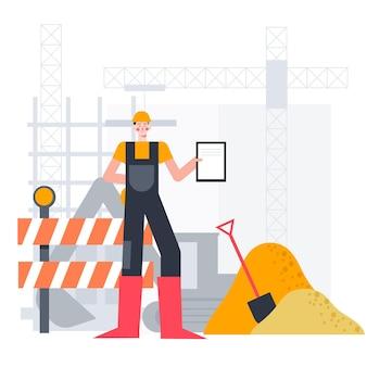 Ingegneria e costruzione di illustrazione piatta
