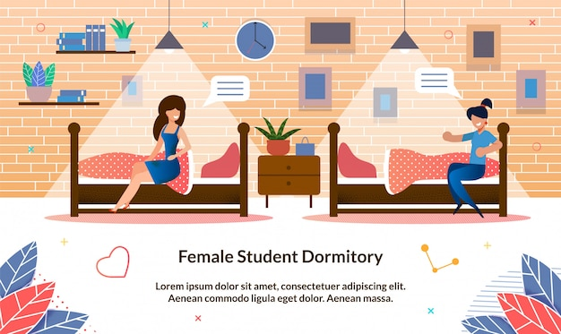 Flat illustration female student dormitory, slide.
