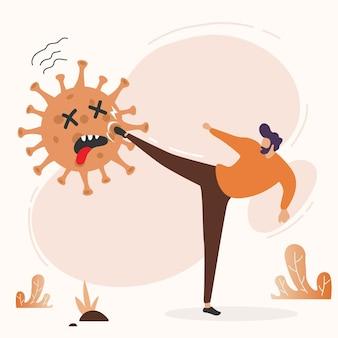 フラットイラストファイトcovid-19コロナウイルス。コロナウイルスを治します。人々はウイルスの概念と戦う。コロナウイルスワクチンの概念。 2019年末-ncov。コロナウイルスの概念を恐れないでください。