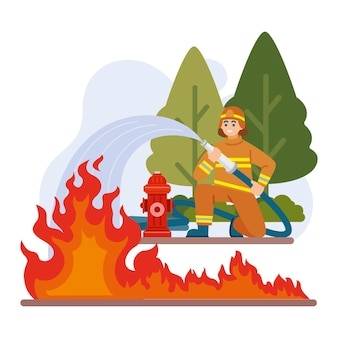 Flat illustration of firefighters putting out a fire