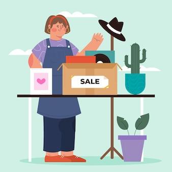 Concetto di mercato delle pulci illustrazione piatta