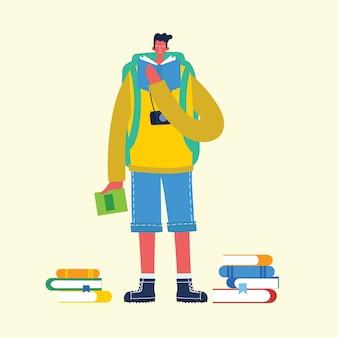 배우고 지식을 얻기위한 평면 그림. 소년과 책