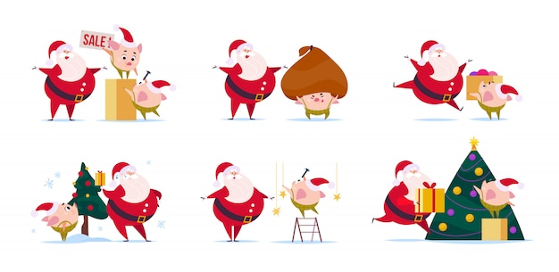 Flat illustration of funny santa claus character and cute little pig elf in santa hat