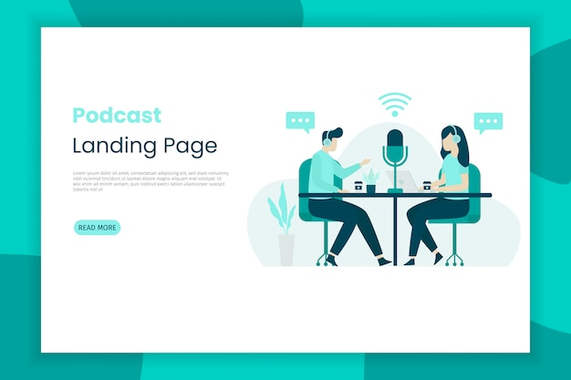 Flat  illustration of a girl and boy talking for a podcast broadcast landing page