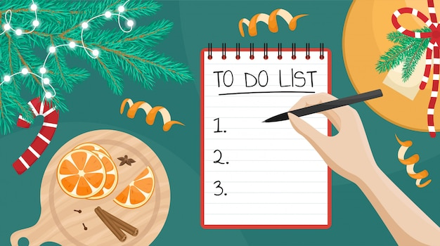 Flat illustration of a girl writing a wish list. flat lay with christmas tree branch, gift and oranges.