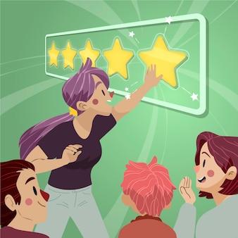 Illustrazione piana che dà il concetto di feedback