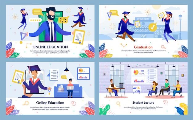 Flat illustration graduation, student lecture