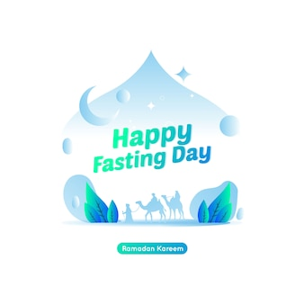 Flat illustration of greeting post for happy fasting day