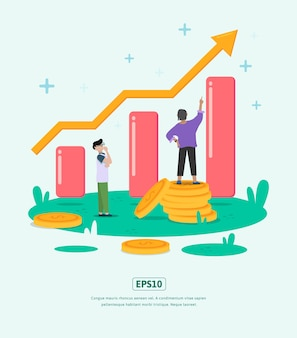 フラットイラストは、ビジネスのための統計イラストキャラクターコインドルでビジネスを成長させます